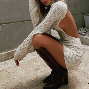 Dreamy Cable Knit Cream Open Back Sweater Dress